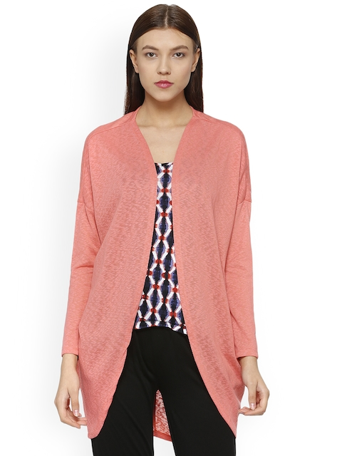 People Women Pink Self Design Open Front Shrug