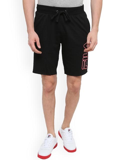 FILA Men Black Solid Regular Fit Regular Shorts