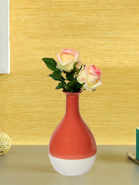 Aapno Rajasthan Orange Ceramic Flower Vase
