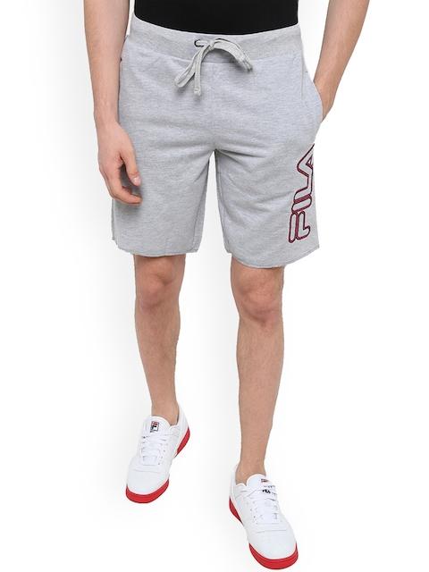 FILA Men Grey Solid Regular Fit Regular Shorts