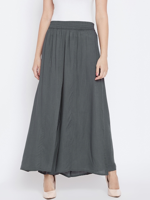 PANIT Women Charcoal Grey Solid Flared Palazzos