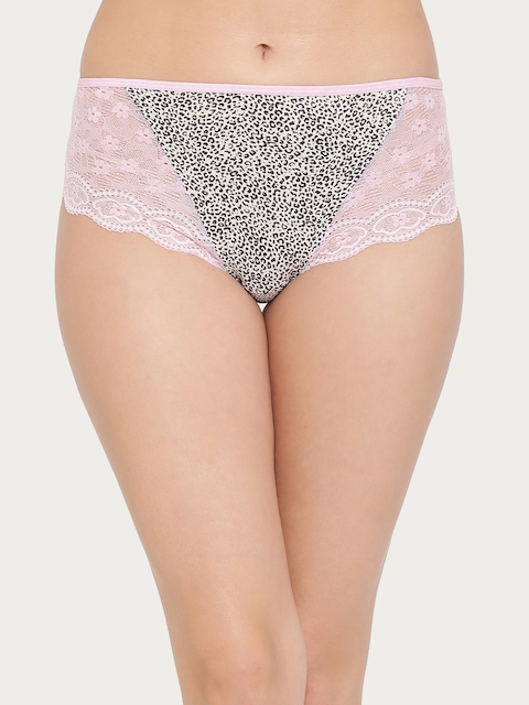 Clovia Pink, White & Black Printed With Lace Detail Hipster Panty