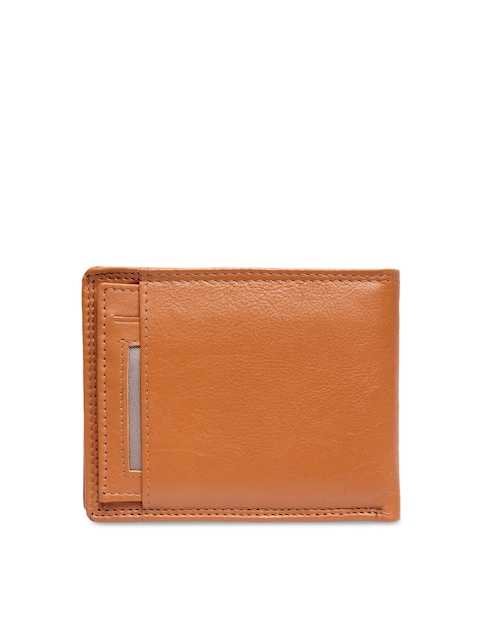 Teakwood Leathers Men Tan Brown Solid Leather Two Fold Wallet