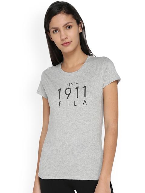 FILA Women Grey Printed Round Neck T-shirt