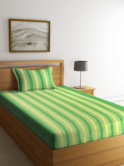 NEUDIS Green & Yellow Striped Cotton Single Bed Cover with Pillow Cover