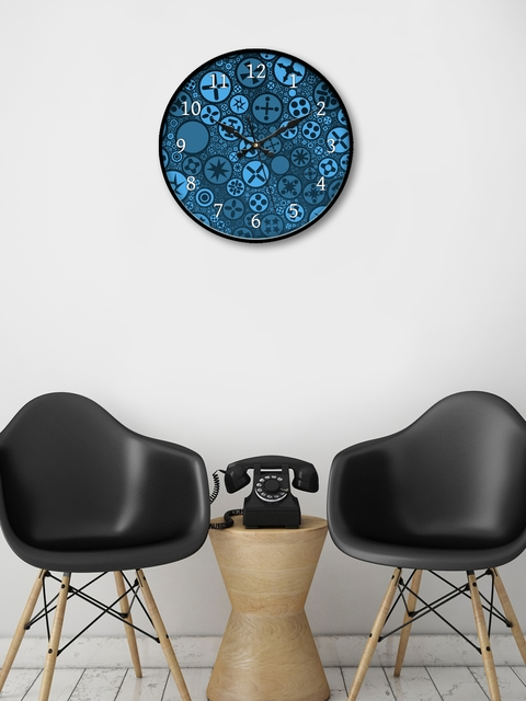 999Store Blue Round Printed 45.7 cm Analogue Wall Clock