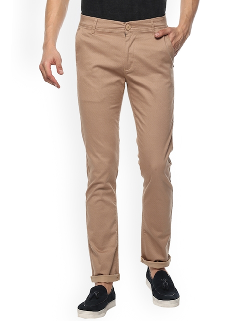 SPYKAR Men Brown Slim Fit Self Design Chinos