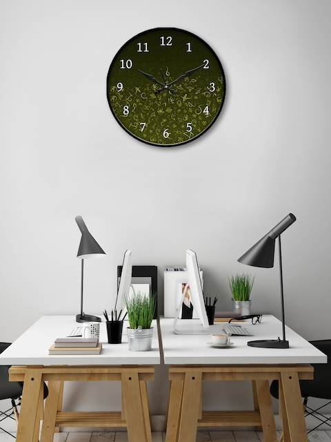 999Store Green Round Printed Analogue Wall Clock