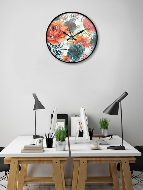 999Store Multicoloured Round Printed 45.7 cm Analogue Wall Clock