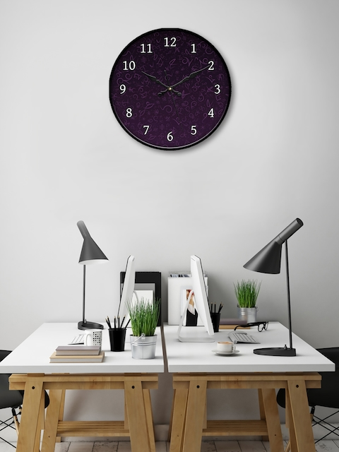 999Store Purple Round Printed 45.7 cm Analogue Wall Clock
