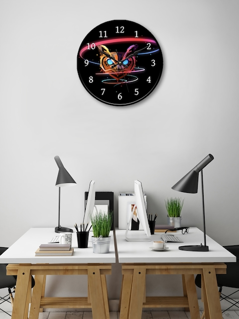 999Store Black Round Printed 45.7 cm Analogue Wall Clock