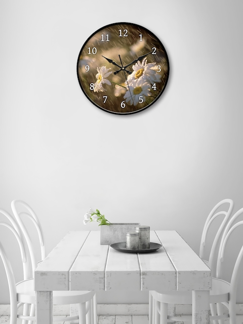 999Store Brown & White Round Printed 45.7 cm Analogue Wall Clock
