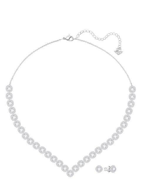 SWAROVSKI Women Rhodium-Plated Silver-Toned Jewellery Set