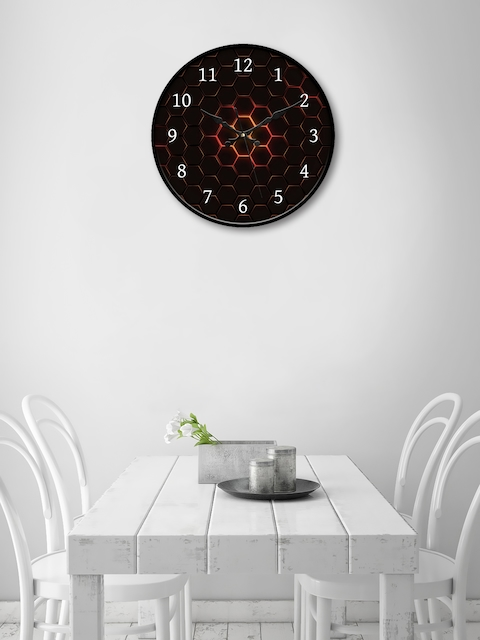 999Store Maroon Round Printed Analogue Wall Clock