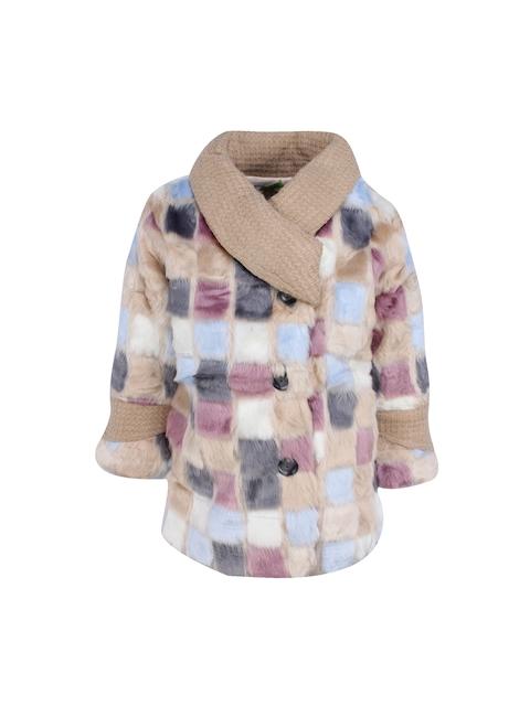 CUTECUMBER Girls Beige Checked Overcoat
