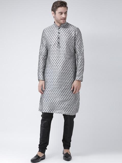 DEYANN Men Silver-Toned Printed Straight Kurta