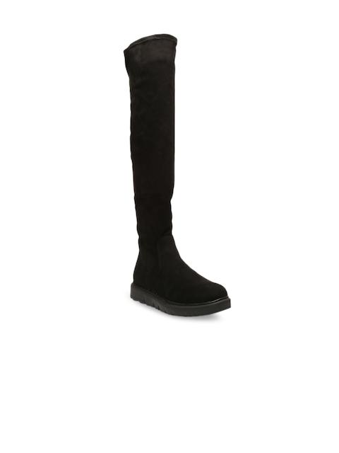 Bugatti Women Black Solid Suede High-Top Flat Boots