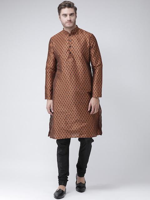 DEYANN Men Copper-Toned & Black Printed Straight Kurta