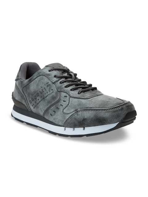 Bugatti Men Grey Solid Synthetic Suede Mid-Top Sneakers
