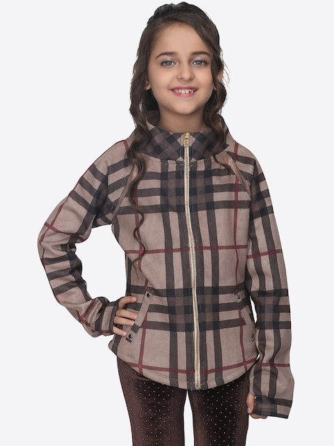 CUTECUMBER Girls Beige Checked Suede Padded Jacket