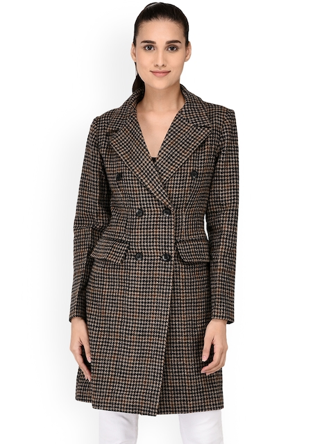 Owncraft Women Black & Brown Checked Double-Breasted Overcoat
