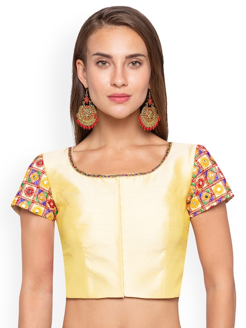 Just B Women Yellow & Multicoloured Woven Design Saree Blouse