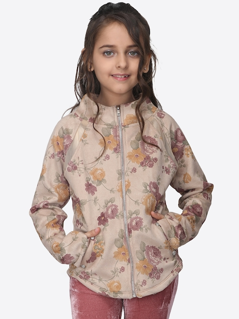CUTECUMBER Girls Beige Printed Padded Jacket