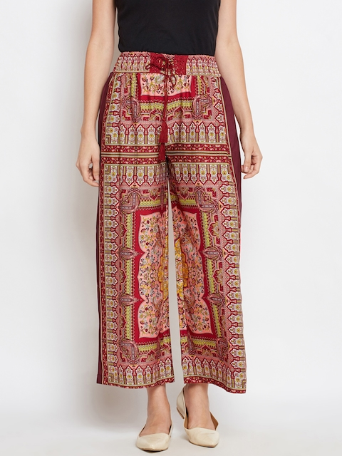 Oxolloxo Women Red & Maroon Printed Straight Palazzos