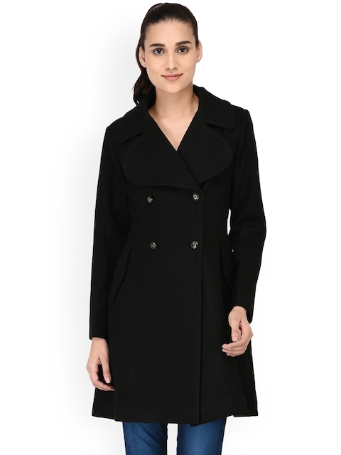 Owncraft Women Black Solid Woollen Double-Breasted Overcoat
