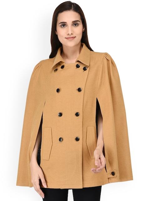 Owncraft Women Tan-Brown Solid Woollen Cape Coat