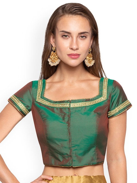 Just B Women Green Padded Saree Blouse