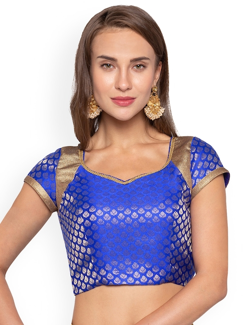 Just B Women Blue & Gold-Coloured Jacquard Padded Saree Blouse