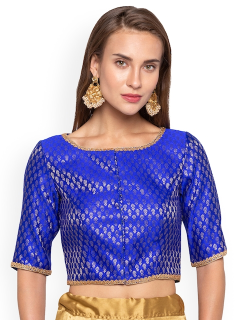 Just B Women Blue 7 Gold-Coloured Woven Design Jacquard Saree Blouse