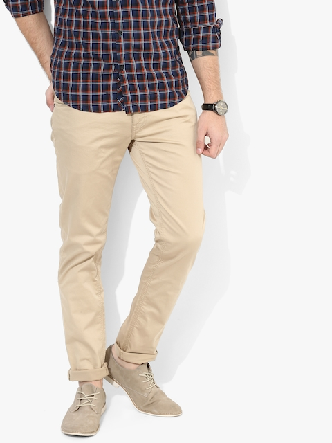 Beige Solid Mid Rise Slim Fit Jeans
