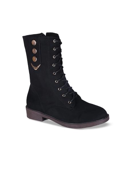 MSC Women Black Solid Heeled Boots