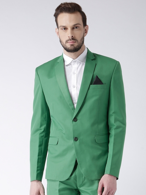 Hangup Men Green Solid Single-Breasted Formal Blazer
