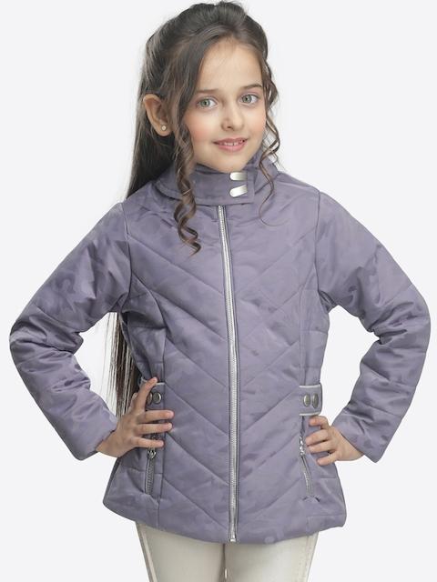 CUTECUMBER Girls Purple Solid Padded Jacket