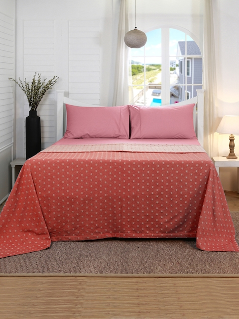 MASPAR Red Printed 120 GSM Double Bed Cover