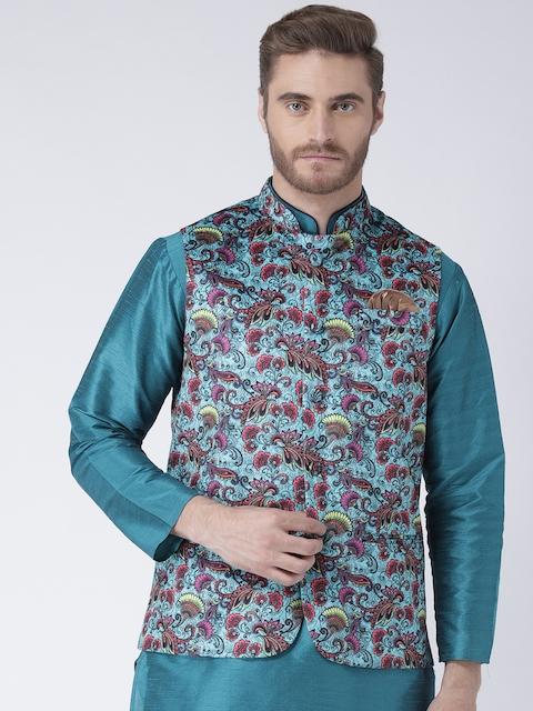 Hangup Men Turquoise Blue Printed Nehru Jacket