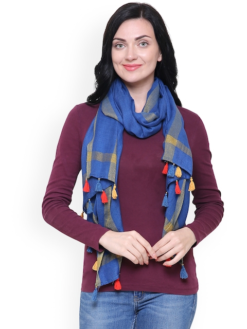 Anekaant Women Blue Solid Stole