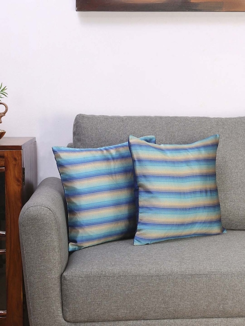 Athome by Nilkamal Blue Set of 2 Striped Square Cushion Covers
