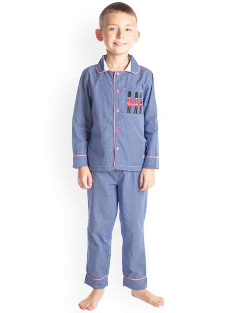 Cherry Crumble Boys Blue Striped Night Suit WS-NSUIT-7150