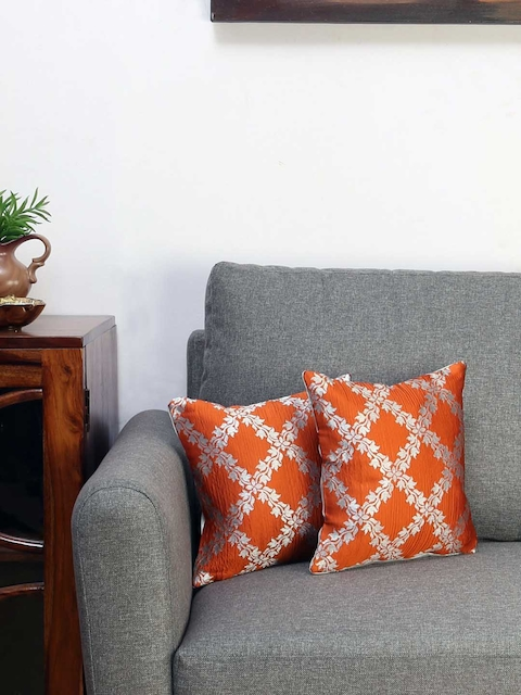 Athome by Nilkamal Orange Set of 2 Floral Square Cushion Covers