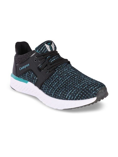 Campus Men Black & Blue Running Shoes