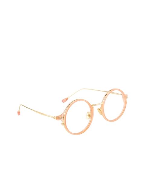 Clark N Palmer Unisex Pink & Gold-Toned Solid Full Rim Round Frames CNP-M60027-C9