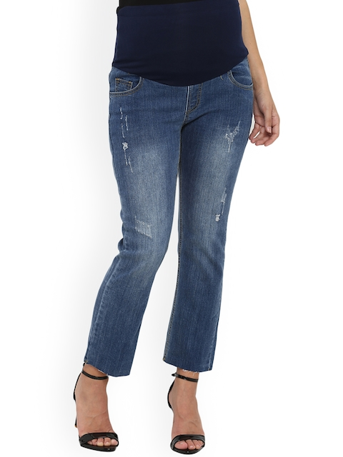Mamacouture Women Blue Regular Fit High-Rise Mildly Distressed Maternity Jeans