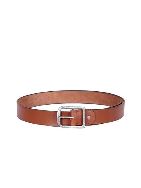 Justanned Men Tan Brown Solid Leather Belt