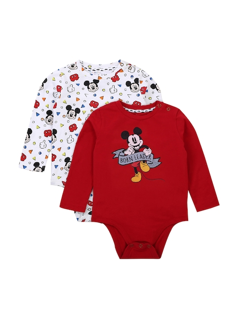 QUANCIOUS Boys Pack of 2 White & Red Printed Bodysuit