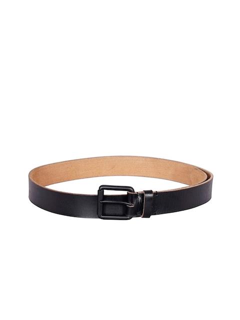 Justanned Men Black Textured Leather Belt