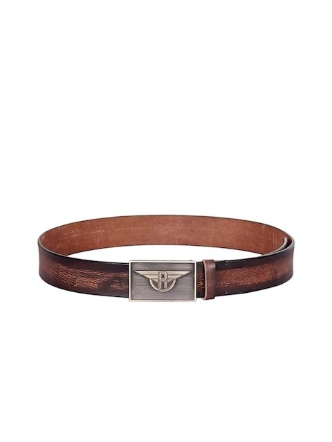 Justanned Men Brown Leather Textured Belt